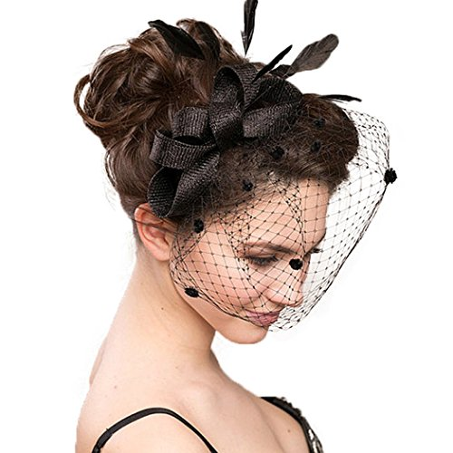 Dovaly Womens Fascinators Hat Bridal Black White Feather