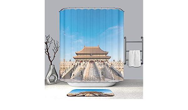 Cortina de ducha personalizada y alfombrilla de suelo para el salón de la oración para buenas cosechas en el templo del cielo en la ciudad de Pekín, China resistente al moho, cortina
