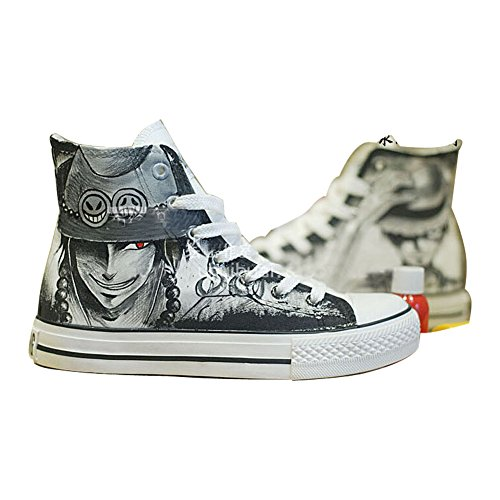 One Piece Luffy Zoro Ace Law Cosplay Shoes Canvas Shoes Sneakers Hand-painted Shoes 4 Choices Luffy Ace Black yPncScR