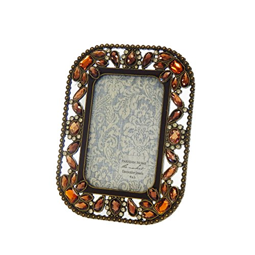 Rhinestone Jeweled Antiqued Brass Large Brown Amber Stones 4 x 6 Picture Frame by Sheffield Home