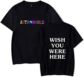 Flyself Unisex Spring Summer Casual Crew Neck Short Sleeve Travis Scott Astroworld Print T-Shirt Tops