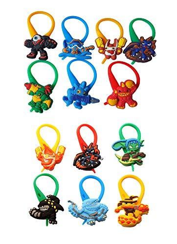AVIRGO 13 pcs Colorful Soft Zipper Pull Charms for Jacket Backpack Bag Pendant Set # 202 -4 - Skylander Trap Tuff Luck