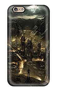 For Iphone 6 Tpu Phone Case Cover(city In The Mountain Rocks )