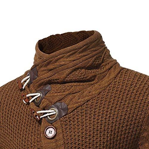 Unie Tricot Col Couleur Pull Veste Automne Vintage Longues À Manches Hommes Hiver Huixin Braun Roulé Élégant wU1SHqS