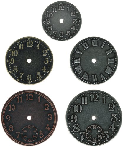 Metal Timepieces by Tim Holtz Idea-ology, 5 per Pack, Various Sizes, Antique Finishes, TH92831 (Face Pocket Watch Timepiece)