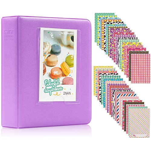 Ablus 64 Pockets Mini Photo Album for Fujifilm Instax Mini 7s 8 8+ 9 25 26 50s 70 90 Instant Camera & Name Card (64 Pockets, Purple)