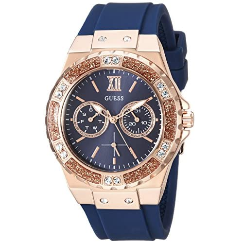GUESS Women's Stainless Steel + Stain Resistant Silicone...