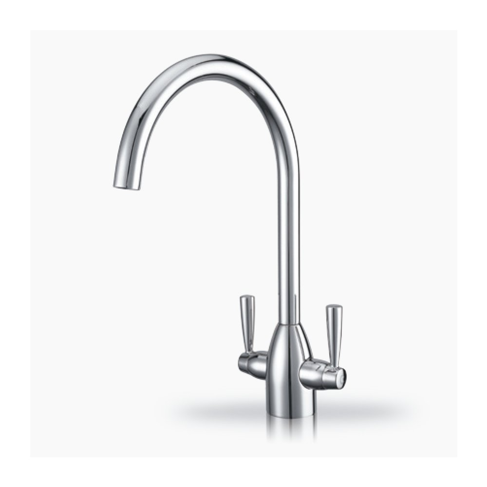 ULING K124 One Hole Two Lever Kitchen Faucet with Hose 1/2 IPS Connector (Soild Brass,Chrome Finished)