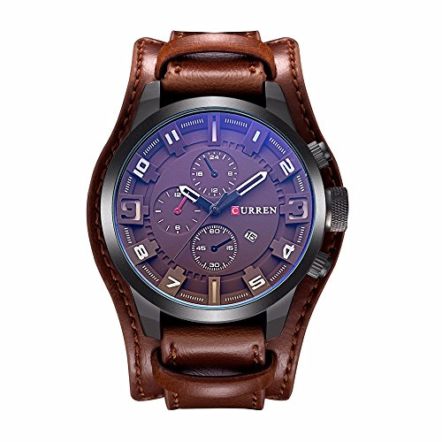 CURREN 8225 (All Brown) Original Men's Sports Waterproof Leather Strap Date Good Quality Wrist Watch