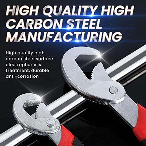 YUQIYU Multi-functional manual wrench tools household hardware ratchet card slot two pieces adjustable 9~32mm Color : Suit 2PCS