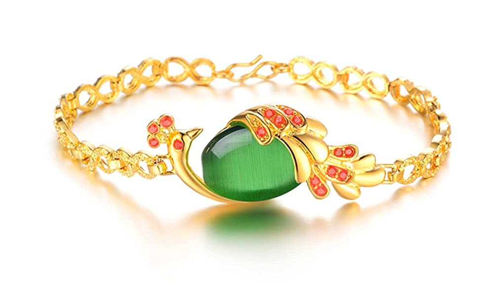SunIfSnow High-end Aesthetic Temperament 18k Gold Plated Inlaid Peacock Agate Bracelet