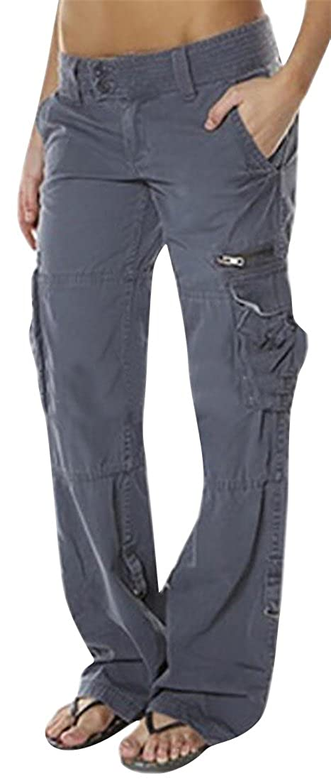 b45e4ff1895f OTW-Women Summer Casual Baggy with Pockets Pure Color Cargo Pants Trousers