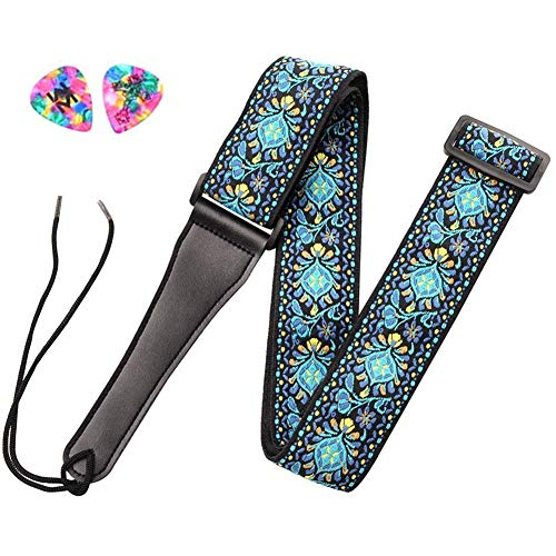 ADM Guitar Strap for Bass, Acoustic, Classical & Electric Guitar with 2 Picks