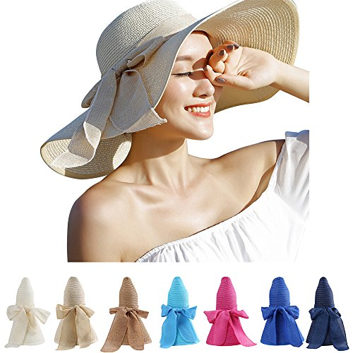 [Aerusi Straw Bowknot Roll Up Large Wide Brim Floppy Caps Beach Sun Hat (Beige)] (Straw Safari Hat)