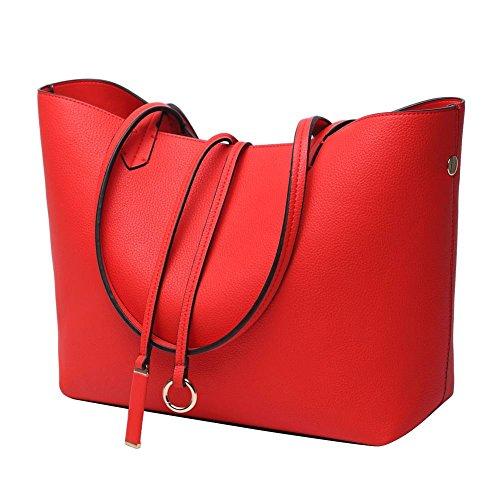 Women Top Handle Satchel Handbags Shoulder Bag Tote Purse Red by shiu shiue
