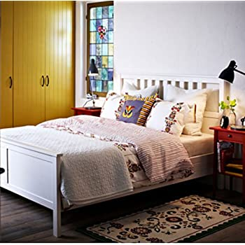 amazon com ikea hemnes queen bed frame white wood kitchen dining