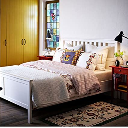 ikea hemnes queen bed frame white wood - Queen Bedroom Frames