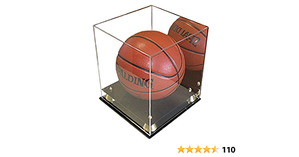 UV Protection 3 Sides Clear, Mirrored Back, Square Full Size Basketball Display Case Stand