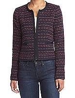 Tommy Hilfiger Red Women's Tweed Full-Zip Jacket Blue 2