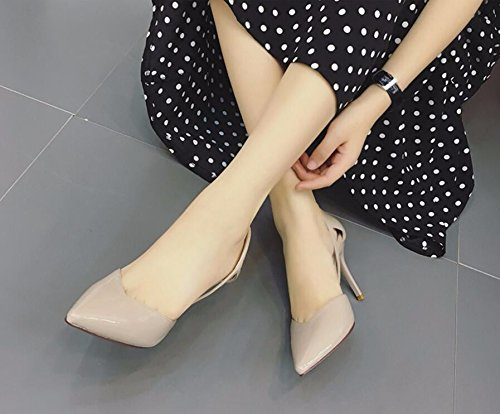 Alto La Zapatos 38 Pintado De Expuestos Cuero Tacón sexy Beige Punta Delgado Amarillo Del Nueva Los Mujer Una Hueco Khskx Y Otoño Luz x7wYBqtnx