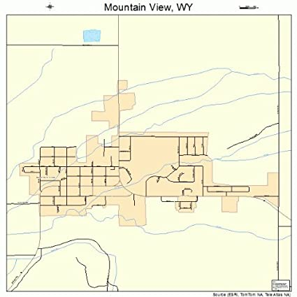 Mountain View Wyoming Map.Amazon Com Large Street Road Map Of Mountain View Wyoming Wy