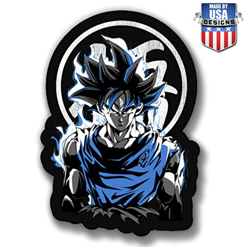 USTORE Vinyl Sticker Decal Goku Ultra Instinct DBZ Anime Weather Resist for Windows Car Cell Phone Bumpers Laptop Wall, 4