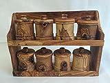 Olive Wood Spice Rack with 8 Jars