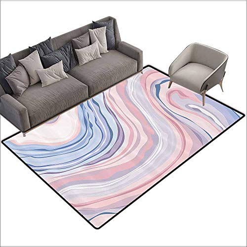 Entrance Modern Area Rugs Apartment Decor,Abstract Pastel Tones in Motion Quartz Crystal Mineral Inspired Picture,Pink Blue 48