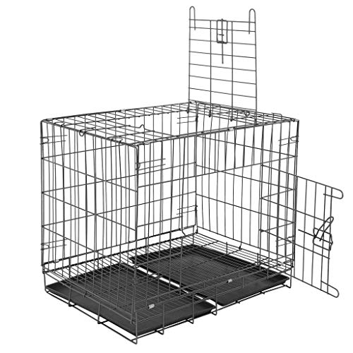 Dog Crate with Divider Tray, Small Dogs Collapsible Metal Pet Travel Cage with Double Door, Heavy Duty Upgraded, 27.6×19.7×23.6 Inches, 13.33 LB (Black)