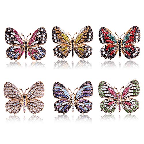 (6PCS Fashion Crystal Butterfly Brooch, Multi-Color Rhinestone Crystal Brooches Pins, Cute Animal Shape Corsages Brooches for Women Decoration)