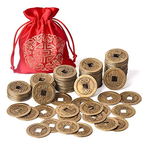 Coopay 120 Pieces 1 Inch Chinese Fortune Coins Feng Shui I-Ching Coins Chinese Good Luck Coins Ancient Chinese Dynasty Time Coin with Red Lucky Pouch