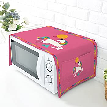 Unicorn Printed Microwave Oven Dustproof Cover Protective Cover with Cotton & Linen Fabric - Home Kitchen Caffee Workshop Bar HZC30-B (#1)