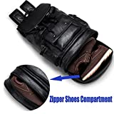 Leather Backpack For Men with USB Waterproof Large
