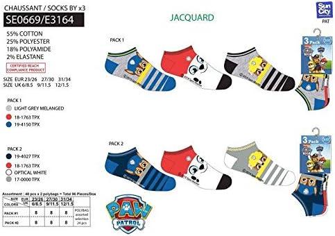 S-C Pack 6 pares de calcetines cortos niño (tobilleros) 6 modelos diferentes diseño PAW PATROL - PATRULLA CANINA (nickelodeon) nums. 23/26-27/30-31/34: Amazon.es: Ropa y accesorios