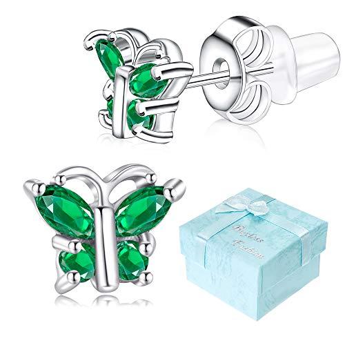Buyless Fashion Girls Butterfly Birthstone Stud Earrings Cubic Zirconia Jewelry - E124BBMAY ()