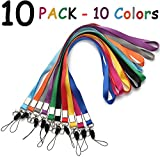 #5: Neck Lanyard Office Nylon woven Neck Lanyards 10 Colors Straps for Badges Holders with J-Hook Enhanced Model Hook ether Ideal for ID Name Badges,Keys,Cell Phone USB Stick Whistles Grey Purple,Black...