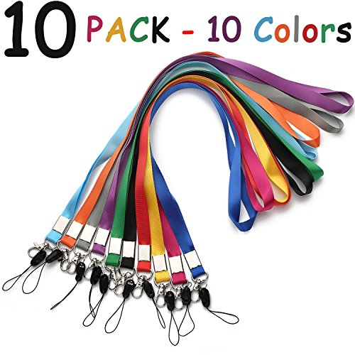 Lanyard Neck Office Nylon Woven Lanyards for id Holder 10 Colors Straps ID Badges Holders Key Kids ID Name Badge,Keys,Cell Phone USB Stick Whistles Grey Purple,Black Blue Green Orange Lanyard Strap