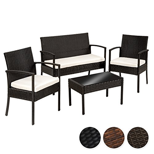 TecTake Poly Rattan Gartenmöbel Gartengarnitur Gartenset Sitzgruppe schwarz