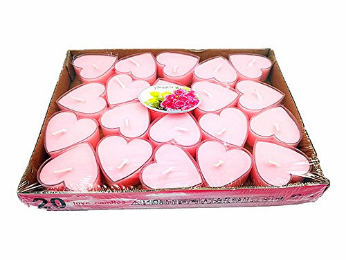 20pcs Heart-shaped Candle,Romantic Love Smokeless Sweet Scented Candle(Pink) By Alimitopia