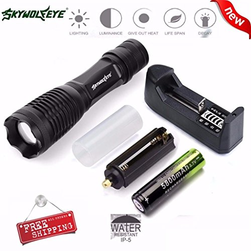 Flashlight,Lisingtool 5000LM XM-L T6 LED Tactical Zoomable Flashlight Torch Light Lamp+18650 Battery+ Charger