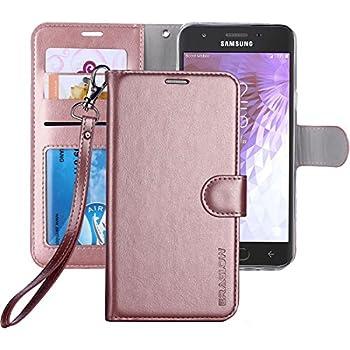 a5cc6efea1 Galaxy J3 Achieve/J3 V 2018/J3 2018/Amp Prime 3 2018/Express Pime 3/J3  Star/Galaxy Sol 3 Case, ERAGLOW Leather Wallet Flip Protective Case Cover  with Card ...