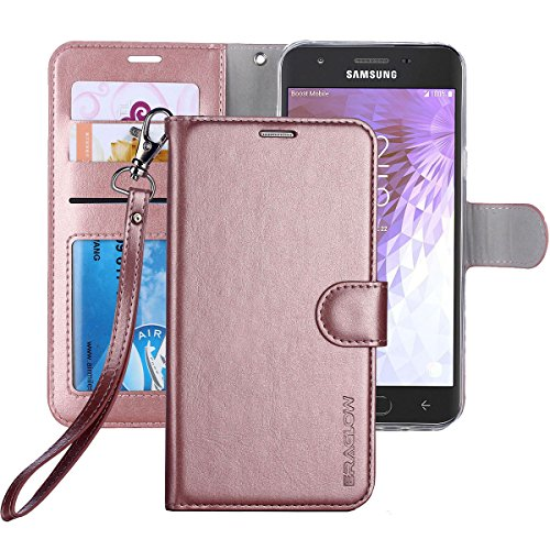 Galaxy J3 Achieve/J3 V 2018/J3 2018/Amp Prime 3 2018/Express Pime 3/J3 Star/Galaxy Sol 3 Case, ERAGLOW Leather Wallet Flip Protective Case Cover Card Slots Stand Samsung J337 (Rose Gold)