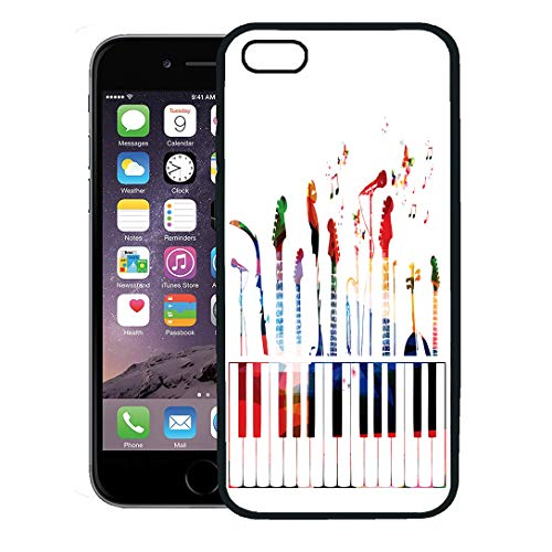 Semtomn Phone Case for iPhone 8 Plus case,Piano Colorful Music Instruments Color Guitar Modern Graphic Song iPhone 7 Plus case ()