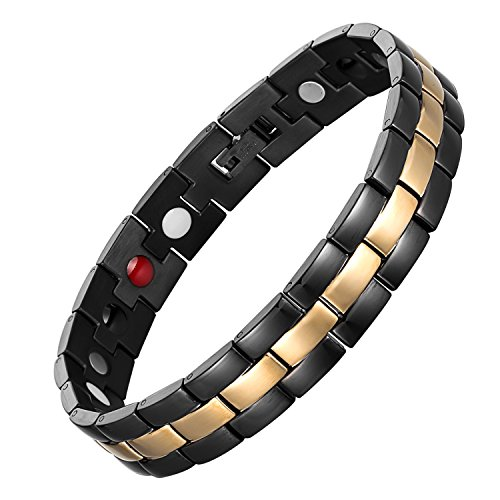 chaninely Elegant Titanium Magnet Bracelet Magnetic Therapy Bracelets for Men Arthritis and Carpal Tunnel Pain Relief Black Gold Two Tone 8.5