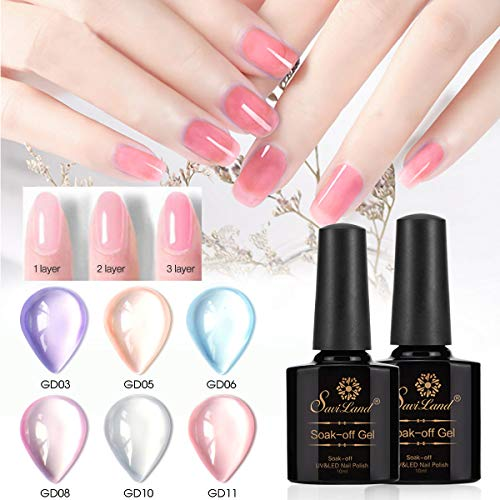 Opal Jelly Gel Nail Polish Set, Saviland 6 colour Soak Off Nail Varnish Set Nail Art Manicure Kit 10ml (Pink blue purple)