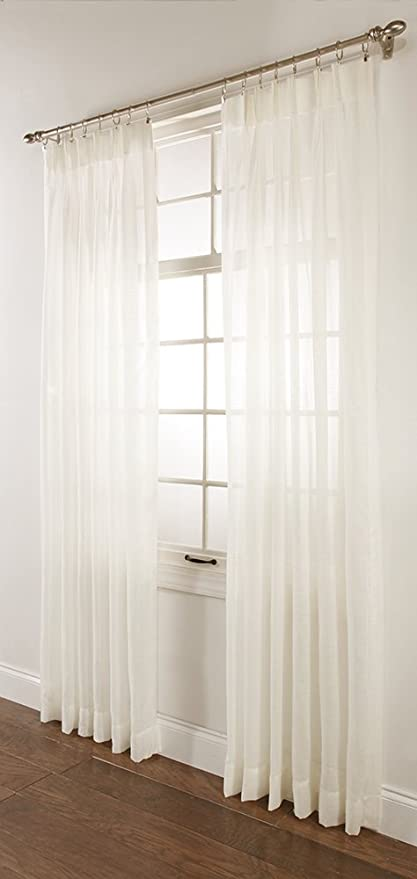pleated inches amazon l white w dp lined curtain window linen long kitchen home pleat com drapes drape pinch x panel
