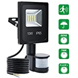 LED Floodlights With Motion Sensor SOLMORE 10W Outdoor Security LightsPIR Flood Lights Waterproof IP65 900lumen Sensor Time& Distance& Brightness Adjustable Outside Wall Light For Garden Fence Car Park Garage Driveway Forecourt Warehouse Pa