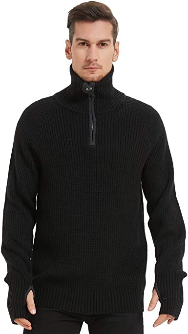 Smeiling Mens Basic Ribbed Plain Knitted Pullover Slim Turtleneck Sweater