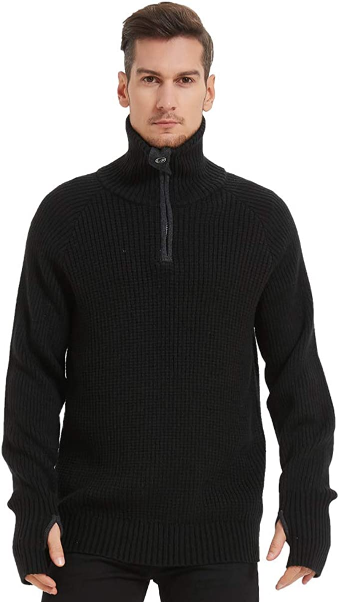 Mens Turtleneck Quarter Zip Pullover Sweaters Fashion Rib Knitted with Thumb Holes on Cuff