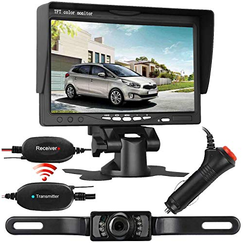 iStrong Backup Camera Wireless System for Car/RV/SUV/Van with 7 Monitor Kit Rear View/Front View/Side View Camera 7 LED Night Vision Waterproof Guide Lines ON/Off